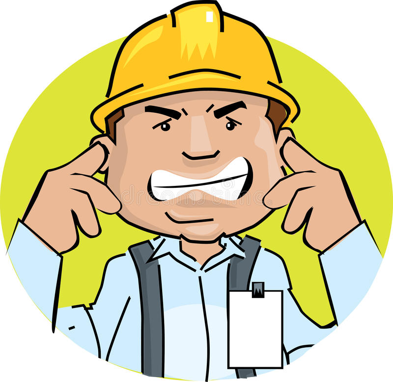 Worker noise. Cartoon illustration of a worker covering his ears avoiding noise in adverse working conditions stock illustration
