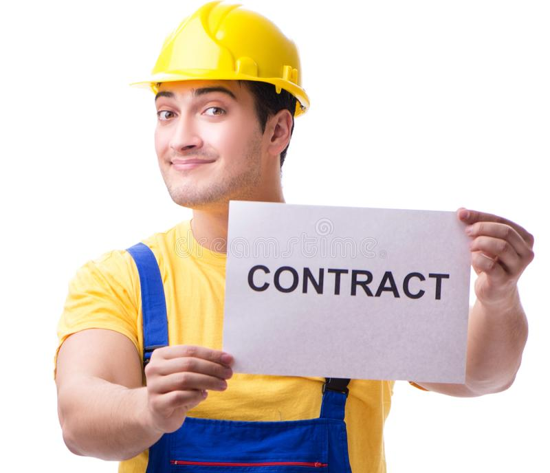 Worker not happy with his employment contract. The worker not happy with his employment contract royalty free stock photography