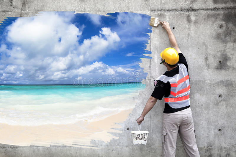 Worker with paint brushes drawing summer beach stock images
