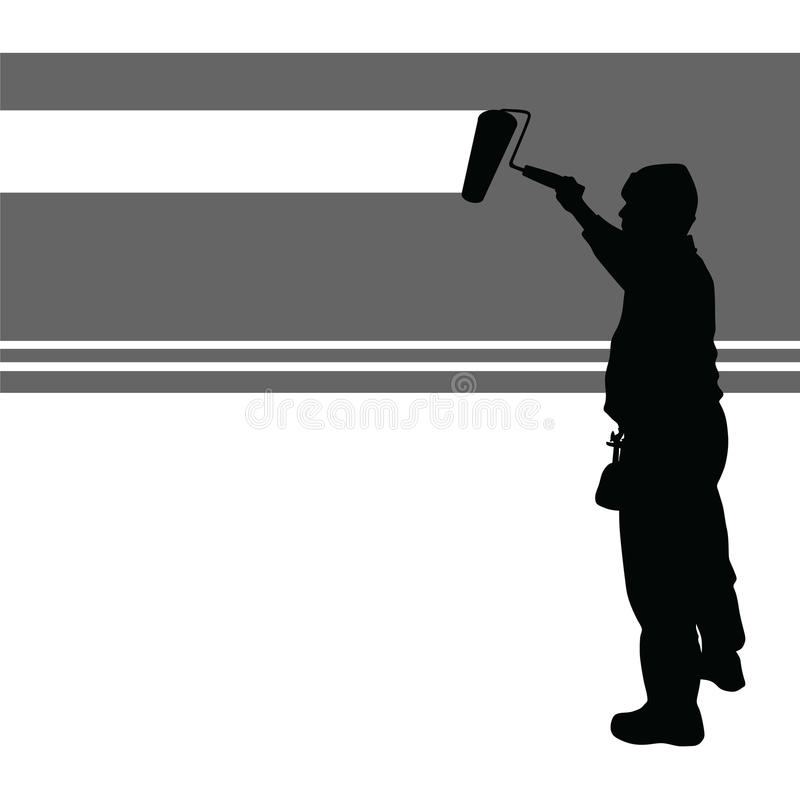 Worker paint wall vector royalty free illustration