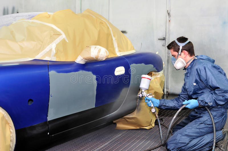 Download Worker Painting A Car. Stock Photo - Image: 24731790