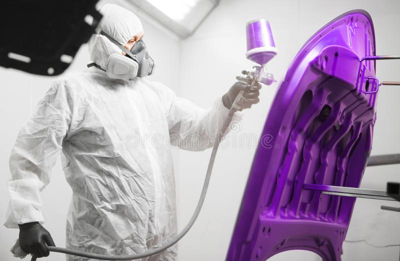 Worker paints hood of auto in violet color with spray gun. White car in a paint chamber during repair work. Restoration of vehicle after the accident royalty free stock images