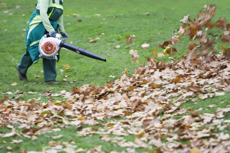 Worker in the park in autumn collects leaves. With leaf blower royalty free stock photo