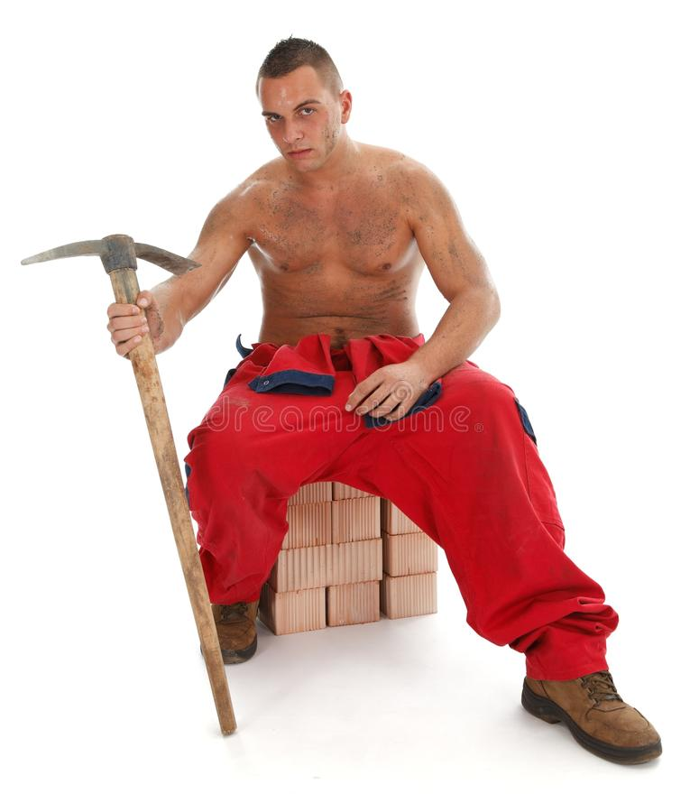 Worker with pickax stock image