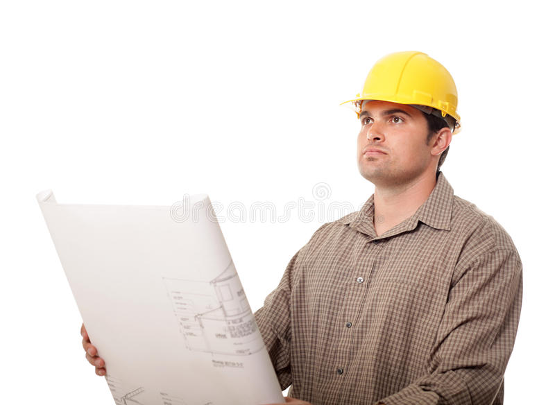 Worker with plans stock images