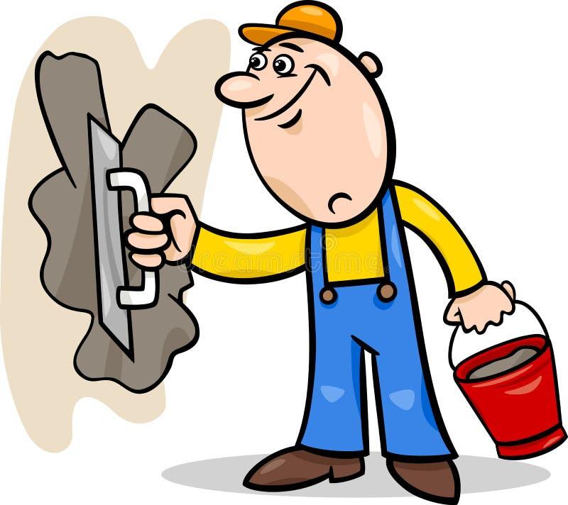 Worker With Plaster Cartoon Illustration Stock Vector ...
