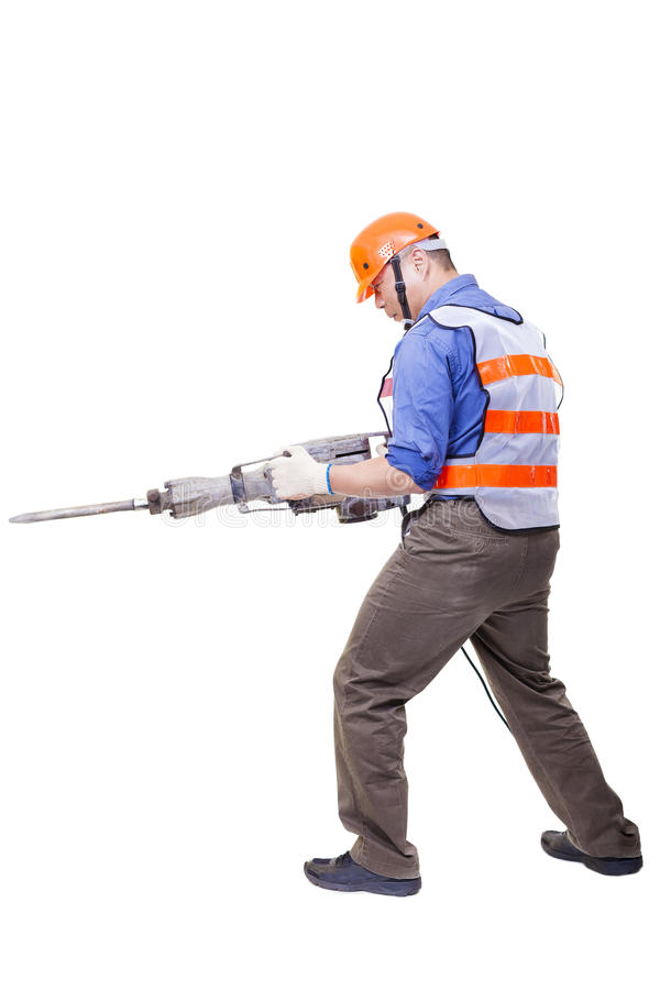 Worker with pneumatic hammer drill equipment isolated royalty free stock images
