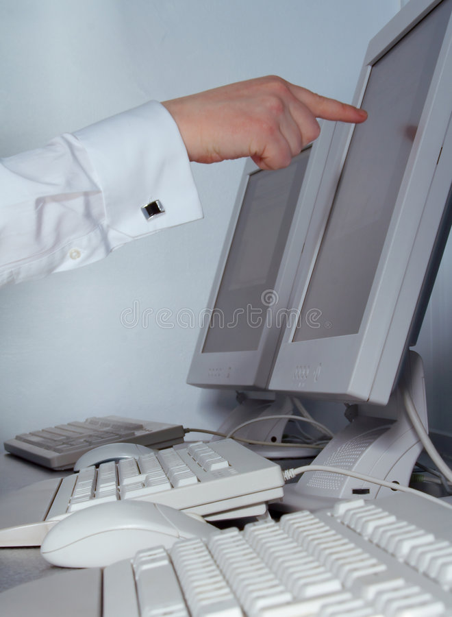 IT Worker pointing royalty free stock image