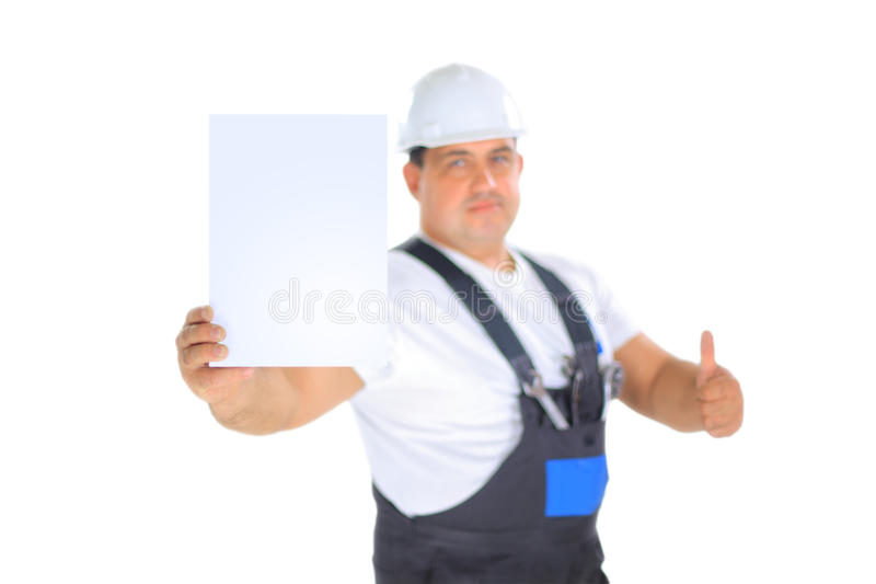Download Worker Presenting Empty Board And Making Ok Sing Stock Image - Image of background, caucasian: 22642321