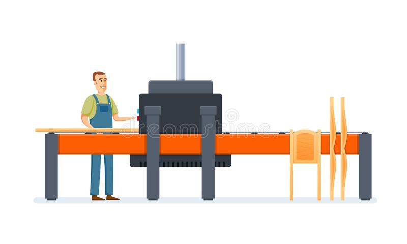 Worker produces furniture parts on machine. Packing and cutting tree. stock illustration