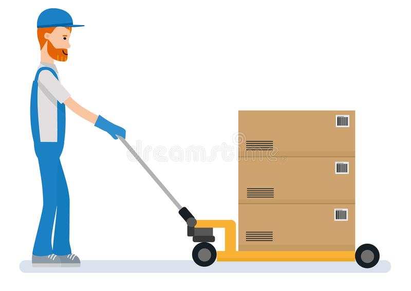A worker is pulling the pallet truck on white background. Cartoon character person. royalty free illustration