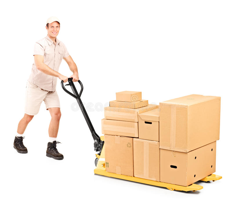 Download Worker Pushing A Fork Pallet Truck Stock Photo - Image: 22003198