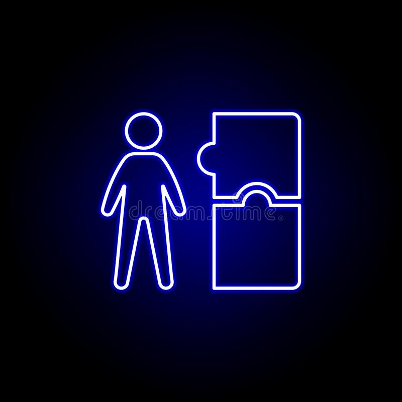 Worker, puzzle icon. Elements of Human resources illustration in neon style icon. Signs and symbols can be used for web, logo, royalty free illustration