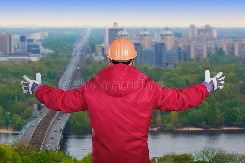 Worker With Raised Arms Royalty Free Stock Images