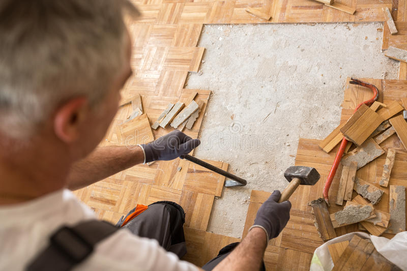 Worker removes old fparquet, renovation home royalty free stock photo
