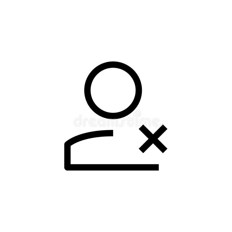 Worker resign icon design. employee with cross symbol. simple clean line art professional business management concept vector. Illustration design. eps 10 royalty free illustration