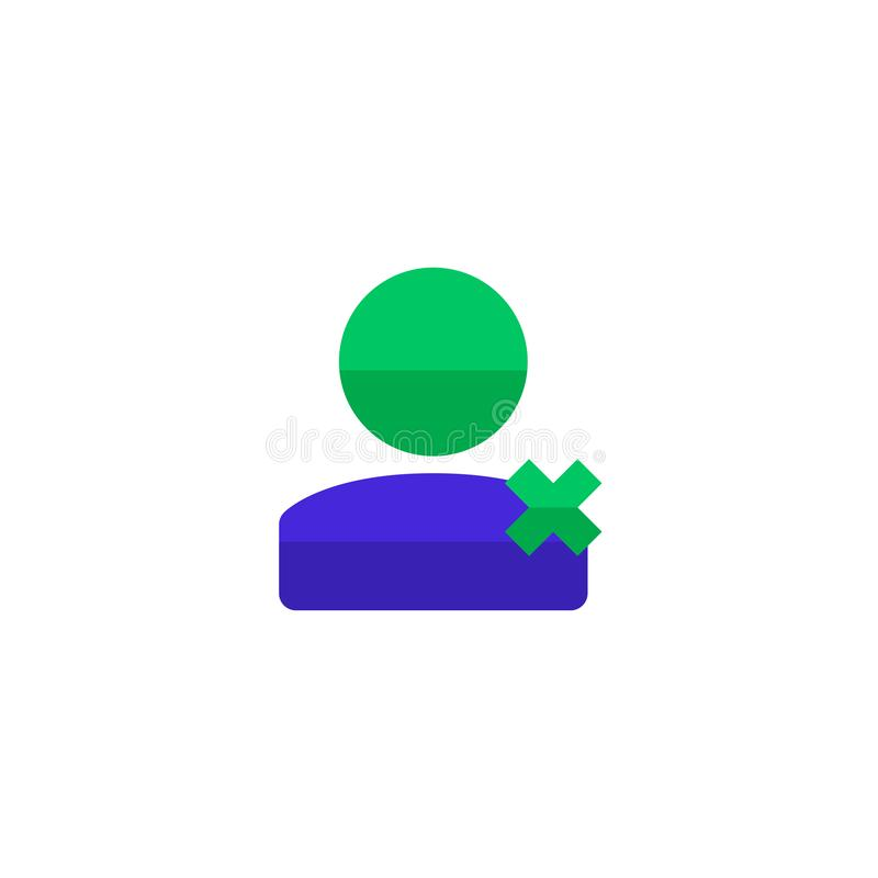 Worker resign icon design. employee with cross symbol. simple clean professional business management concept vector illustration. Design. eps 10 vector illustration