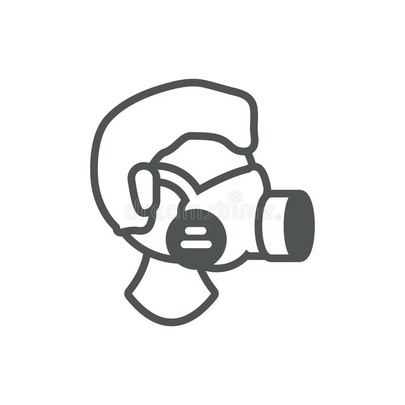 Worker respirator mask industrial protection safety line vector illustration