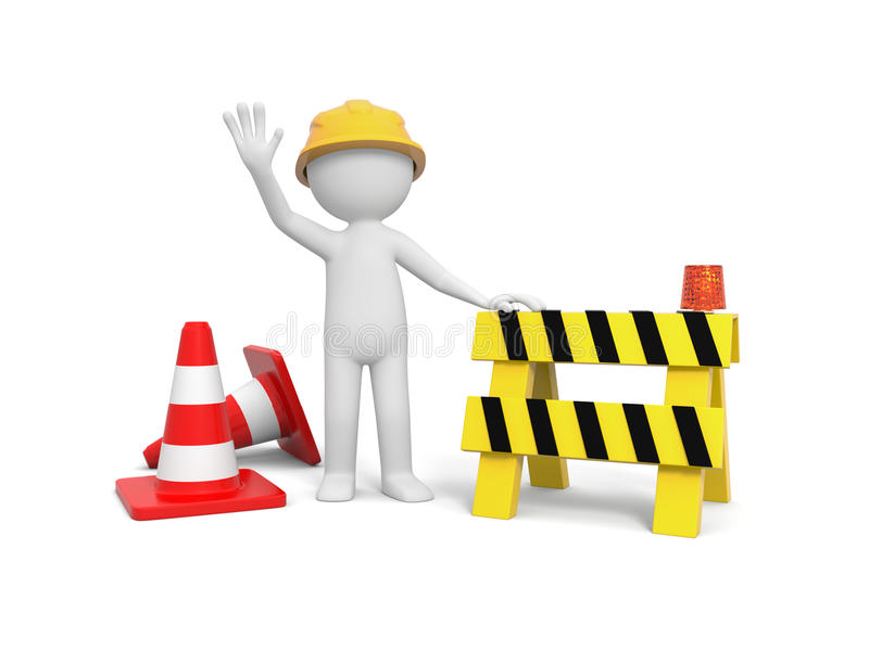 Worker with roadblock. 3d worker with hand on roadblock, barricade royalty free illustration