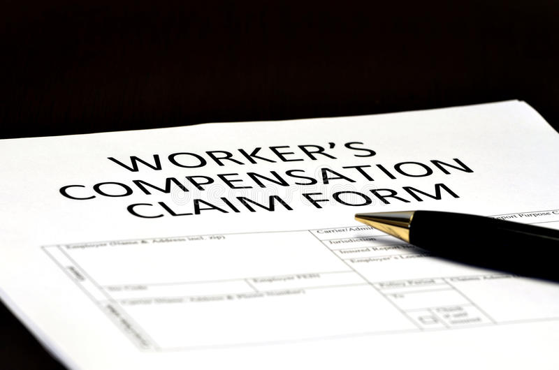 Worker's Compensation Comp Form for Claims. Worker's Compensation Claim form for Comp on Injury employment royalty free stock images
