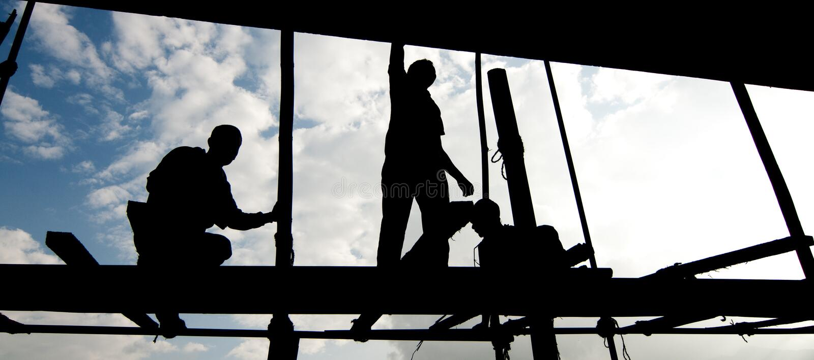 Worker's silhouette royalty free stock photos