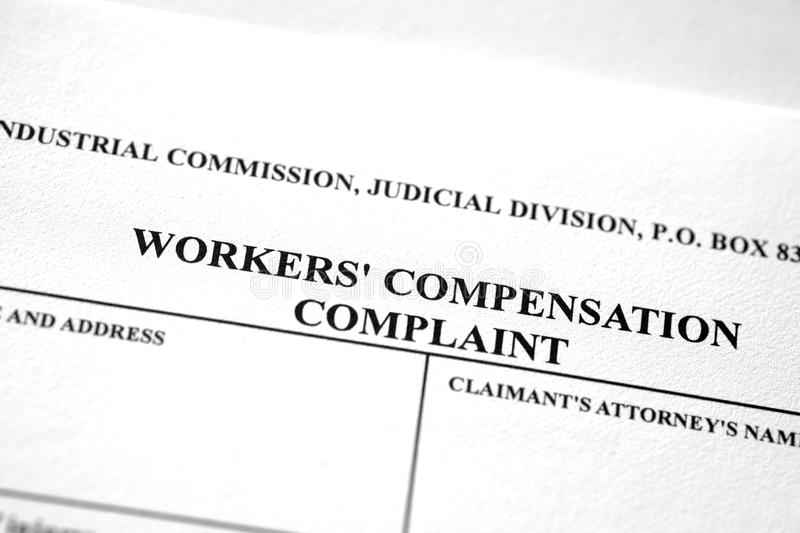 Worker`s Workers Compensation Form Complaint. Worker`s compensation form complaint for injured worker stock photos