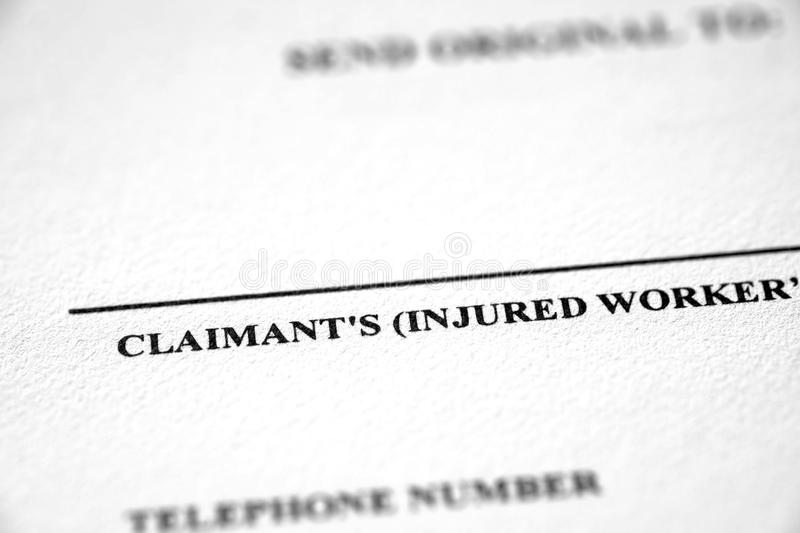 Worker`s Workers Compensation Form Complaint. Worker`s compensation form complaint for injured worker stock images