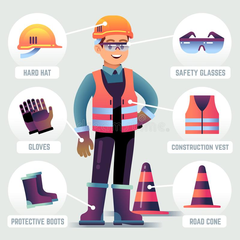 Worker with safety equipment. Man wearing helmet, gloves glasses, protective gear. Builder protection clothing PPE stock illustration