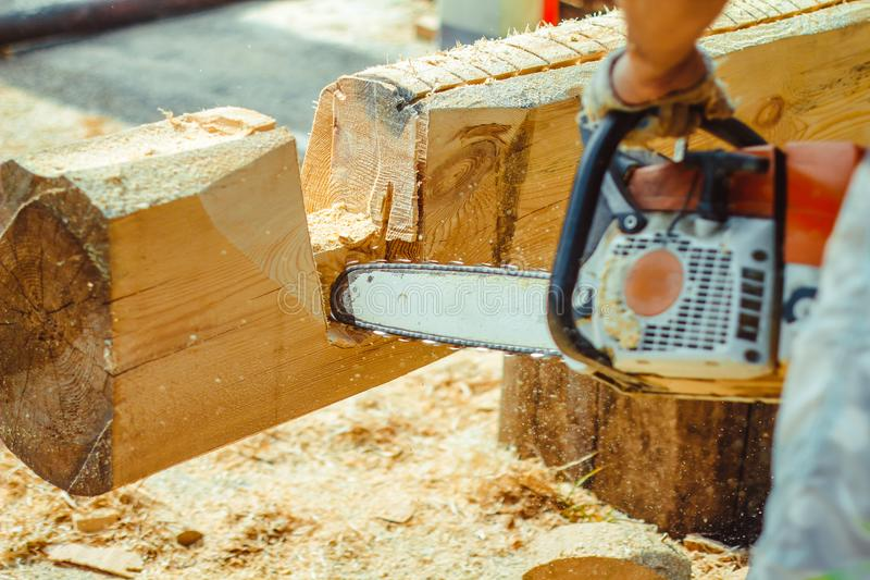 Worker sawing a chainsaw tree. Man with a chainsaw cutting a tree for construction stock images