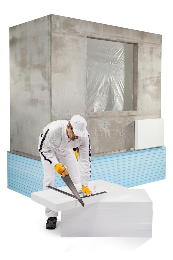 Download Worker Sawing An Insulation Panel Stock Photo - Image: 33942904