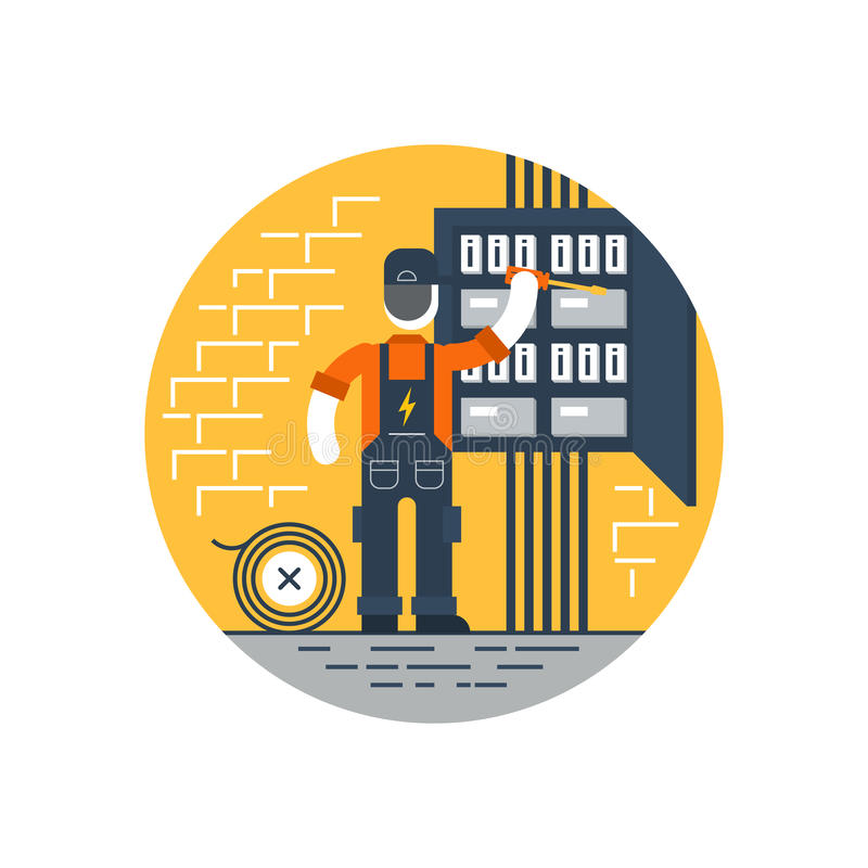Worker with screwdriver fixing electricity box, repair internet connection. Electrician at work, electric services, electricity and internet connection vector stock illustration