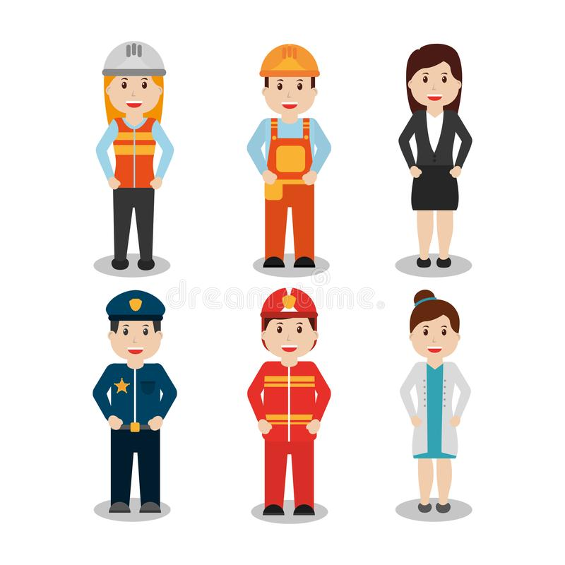 Worker set - office worker chef doctor fireman pilot policeman stock illustration