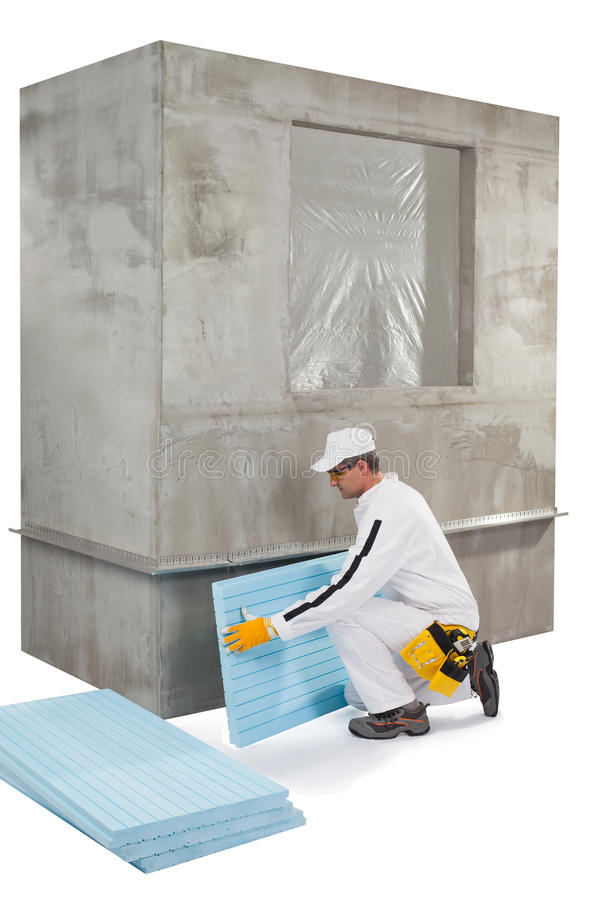 Download Worker Setting Up An Insulation Panel Stock Illustration - Illustration: 33942853