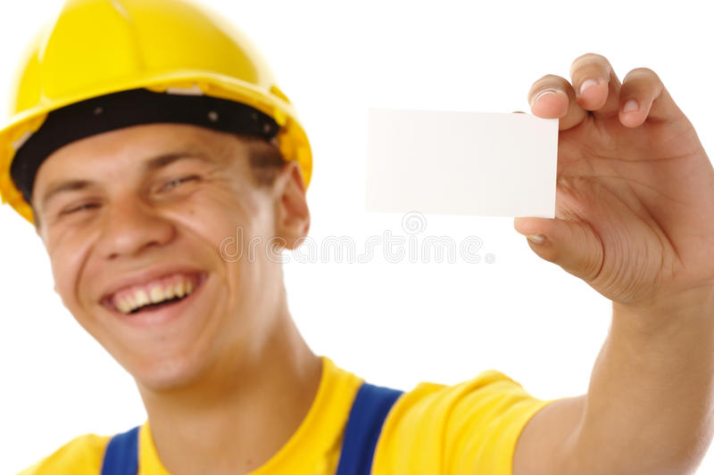 Download Worker Showing His Business Card And Smile Stock Photo - Image: 10623284