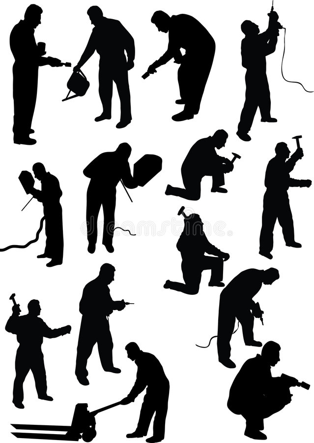 Download Worker silhouette stock vector. Image of power, flash - 7109263