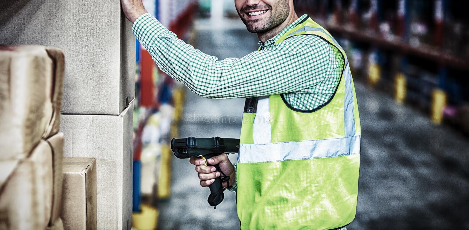 Worker is smiling and posing during work royalty free stock images