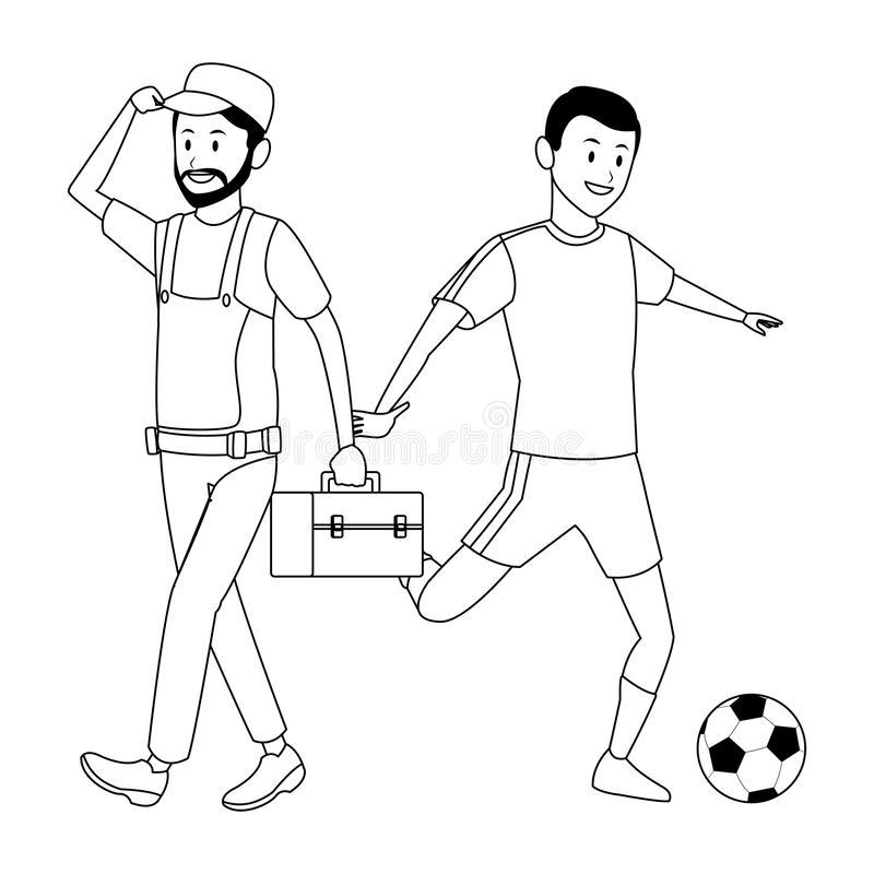 Worker and soccer player royalty free illustration