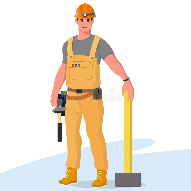 Worker in special clothes. Vector flat illustration. Set of builders in special clothes with various tools. Workers with safety equipment. Jumpsuit, safety stock illustration