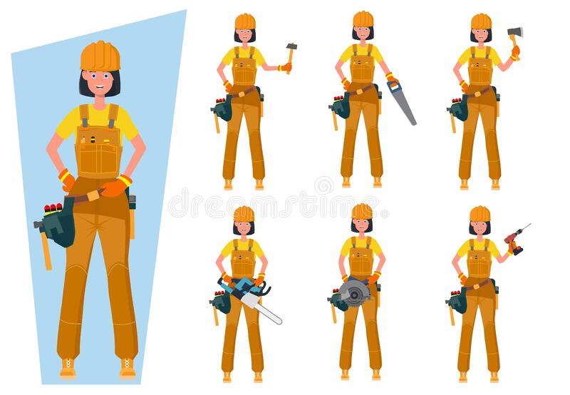 Worker in special clothes. Vector flat illustration. royalty free stock photography