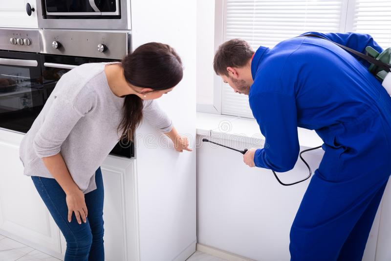 Worker Spraying Insecticide Chemical At Kitchen. Male Worker Spraying Insecticide Chemical In Front Of Housewife In Kitchen stock photo