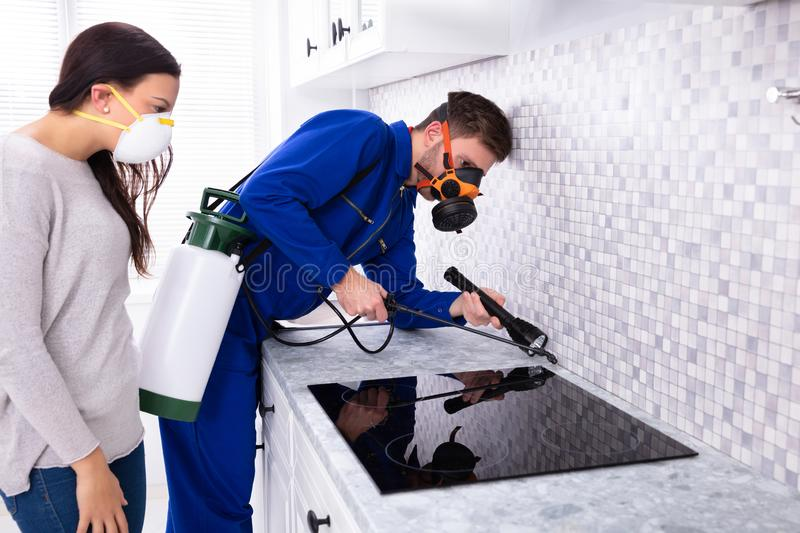 Worker Spraying Pesticide Near Induction Stove. Housewife And Male Worker Wearing Safety Cloth Spraying Pesticide Near Induction Stove With Torch stock photography