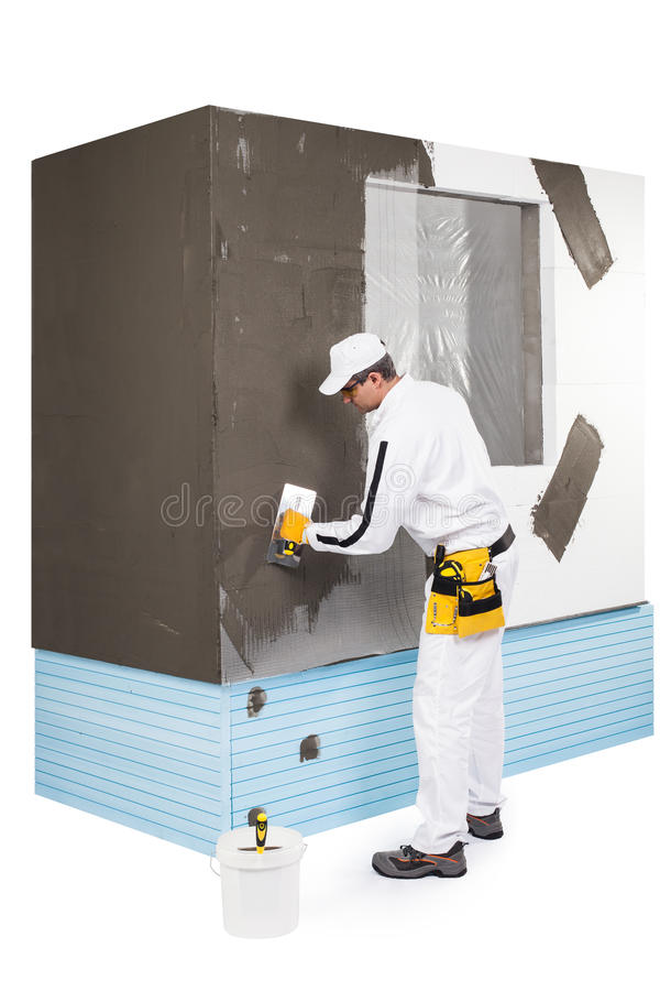 Download Worker spreading a putty stock photo. Image of caucasian - 33943350