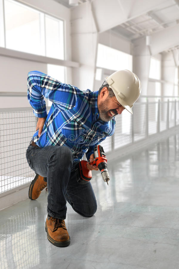 Worker Suffering Back Injury royalty free stock photos
