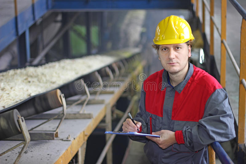 Worker in sugar refinery stock photography