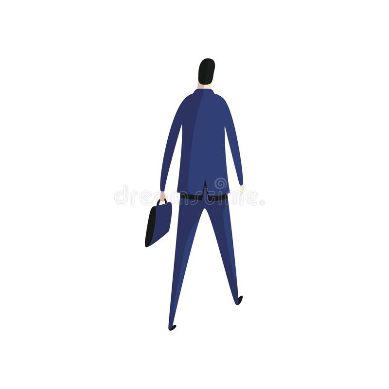 Worker in suit with briefcase back view. royalty free illustration