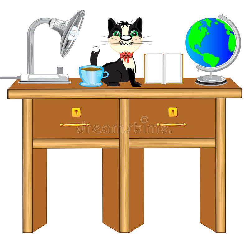 Worker table vector illustration