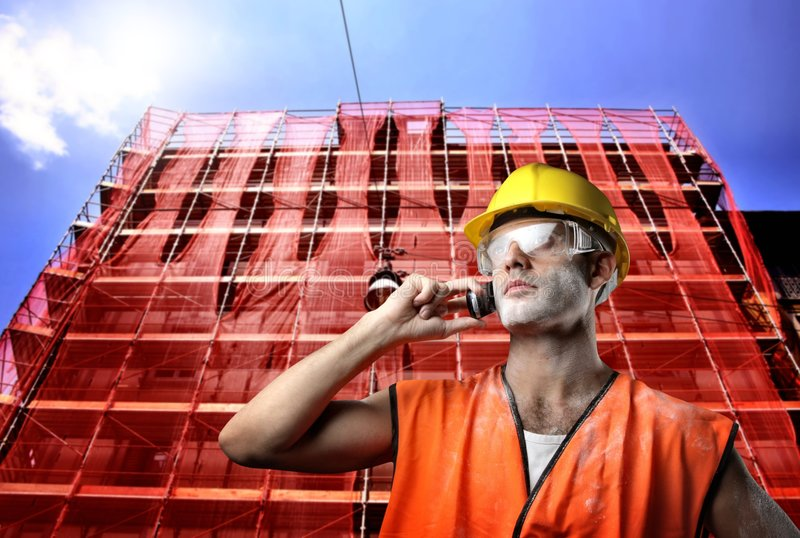 Worker with telephone royalty free stock photography