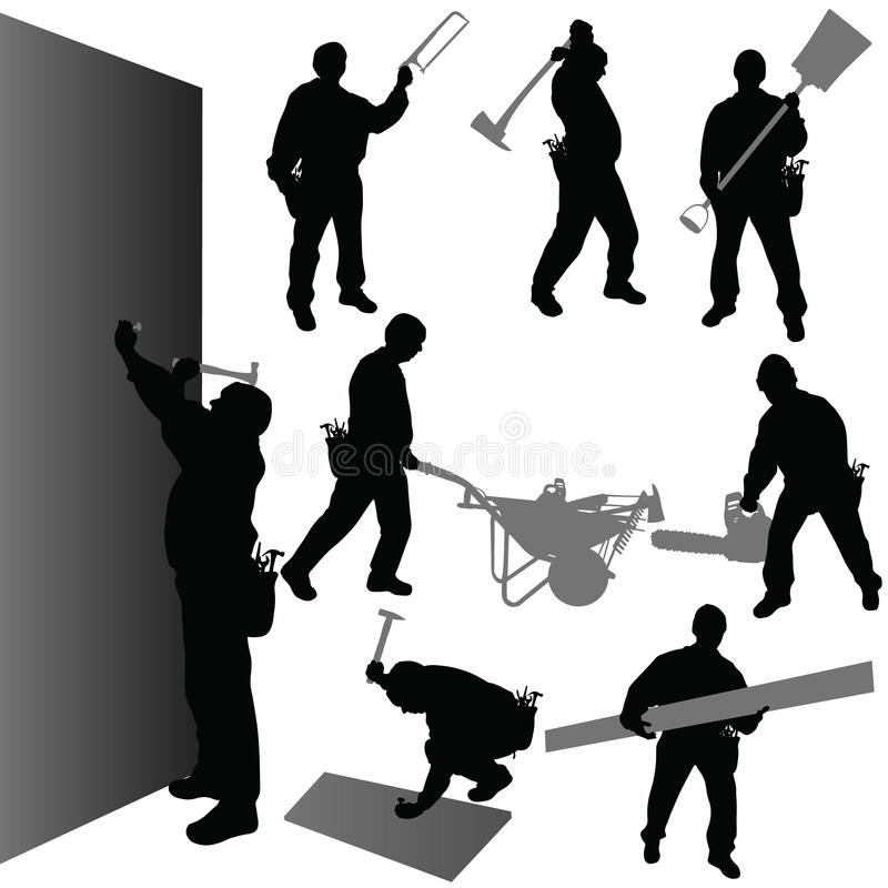 Worker with their tool vector illustration. On white stock illustration