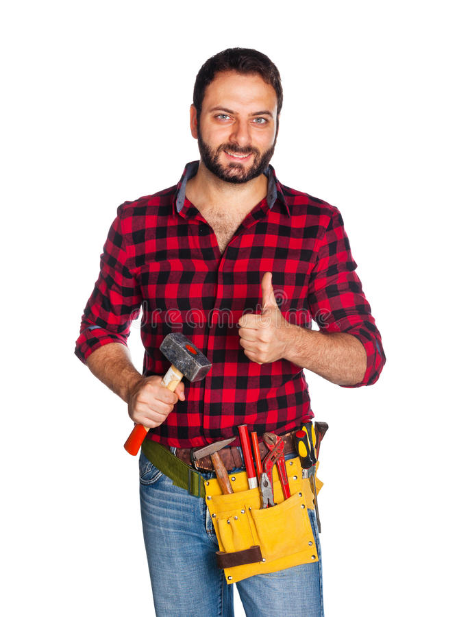 Worker with thumb up. Worker with plaid shirt with thumb up on white background stock images