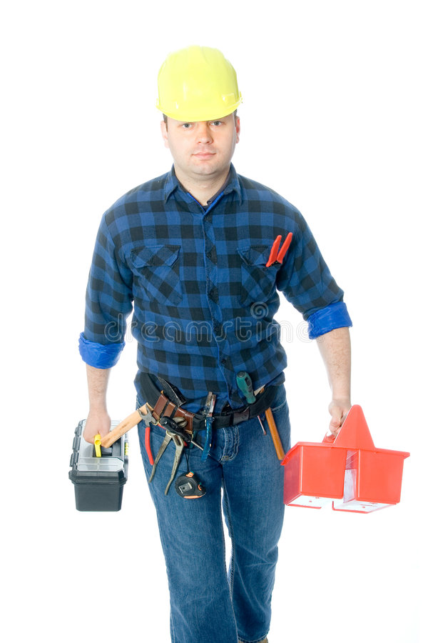 Worker and toolboxes stock images
